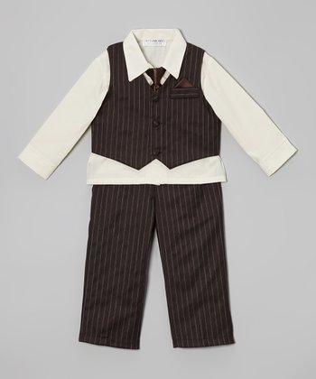 Brown Pinstripe Vest Set - Infant, Toddler & Boys