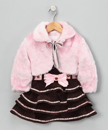 Pink 'Cutie' Ruffle Dress Set - Infant, Toddler & Girls