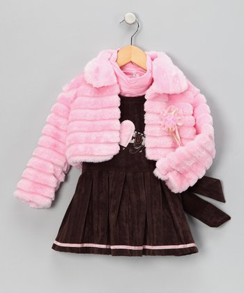 Pink Heart Pleated Dress Set - Infant, Toddler & Girls