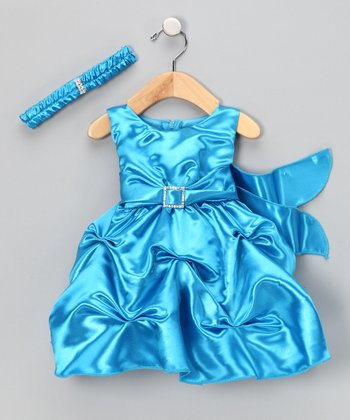 Turquoise Rhinestone Dress & Headband - Infant & Toddler