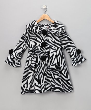 Black Zebra Fleece Coat - Toddler & Girls