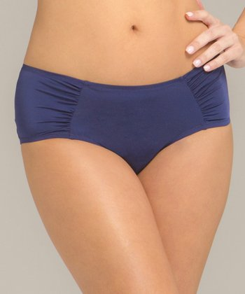 Winter Navy Body Veil Shirred Bikini Briefs - Women & Plus