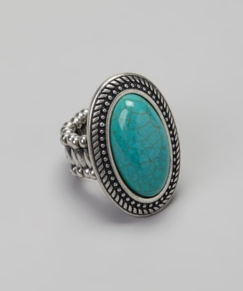 Silver Turquoise Stone Oval Stretch Ring