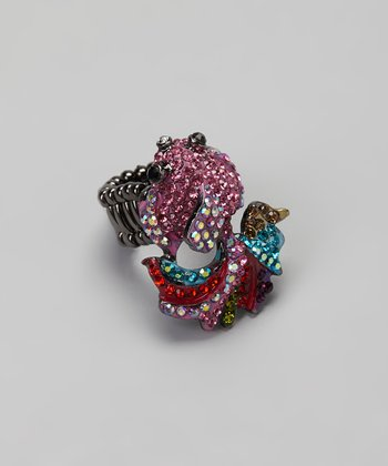 Hematite & Pink Simulated Diamond Fish Stretch Ring