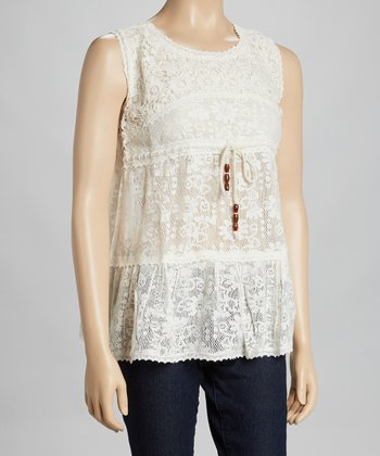 Cream Lace Tier Sleeveless Top