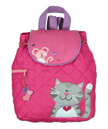 Pink Cat Quilted Backpack