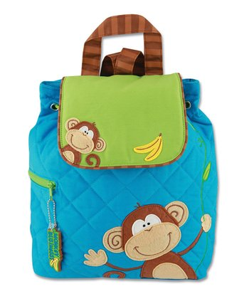 Blue Monkey Quilted Backpack