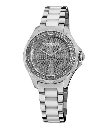 Stainless Steel & Ceramic Sparkle Watch