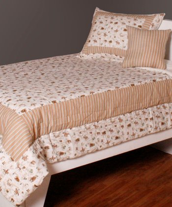 Beige & Cream Western Twin Bedding Set