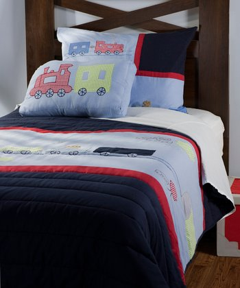 Navy & Red Trains Bedding Set