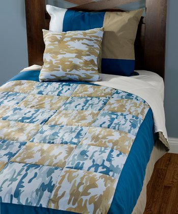 Navy & Brown Camo Twin Bedding Set