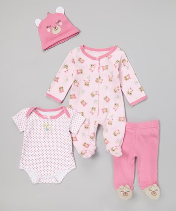 Pink Teddy Bear Footie Set - Infant