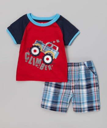 Red Jeep 'Climber' Tee & Blue Plaid Shorts - Infant & Toddler