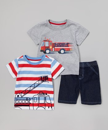 Gray Fire Truck 'Fast' Tee Set - Toddler