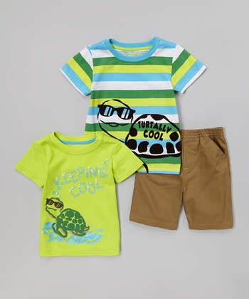 Green Turtle 'Keeping Cool' Tee Set - Toddler