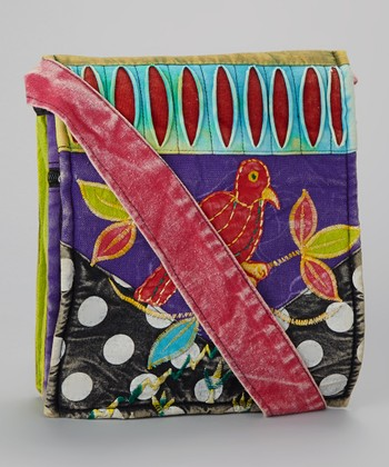 Black & Teal Polka Dot Bird Crossbody Bag