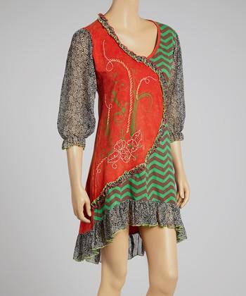 Mint & Orange Abstract Three-Quarter Sleeve Dress