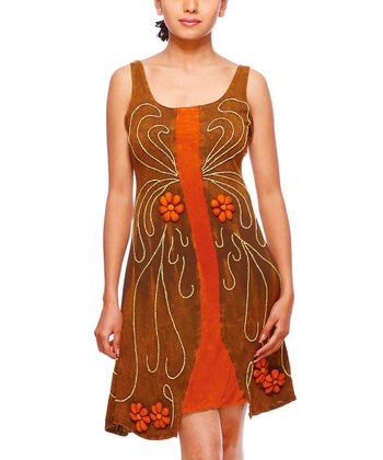 Brown & Orange Floral Embroidered Sleeveless Dress