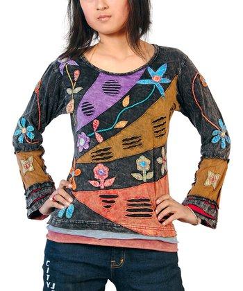 Black & Purple Bursting Stripe Wool Top