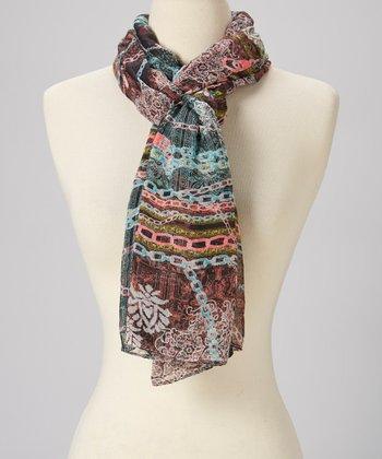 Pink & Blue Boho Wool Scarf