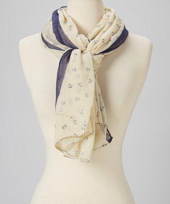 Navy Blue & Cream Anchor Wool Scarf