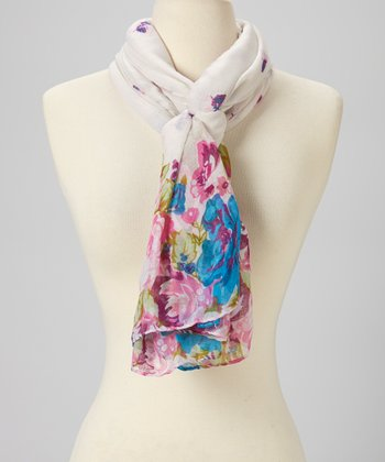Pink & Cream Butterfly Wool Scarf