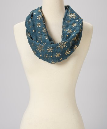 Emerald & Gold Foil Snowflake Wool Infinity Scarf