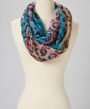 Blue & Pink Leopard Wool Infinity Scarf