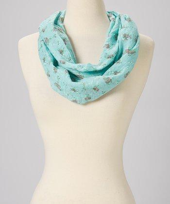 Pink & Blue Floral Wool Infinity Scarf