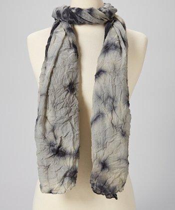Blue & Gray Tie-Dye Wool Scarf