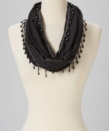 Black Bead Embroidered Wool Infinity Scarf