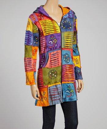 Yellow & Purple Razor Fringed Patchwork Hooded Jacket
