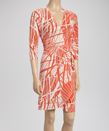 Orange & Cream Stripe Wrap Dress