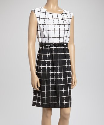 Black & White Square Belted Dress