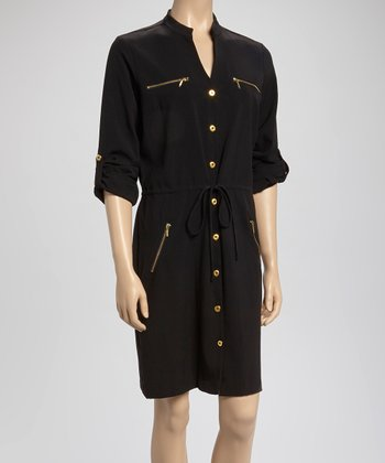 Black Drawstring Shirt Dress