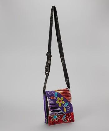 Purple & Red Flower Crossbody Bag