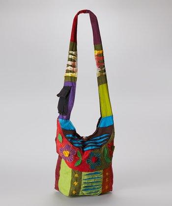 Red & Green Flower Crossbody Bag