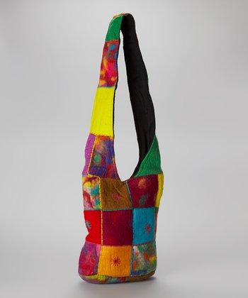Green & Yellow Patchwork Felt Crossbody Bag