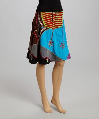 Blue & Purple Patchwork A-Line Skirt