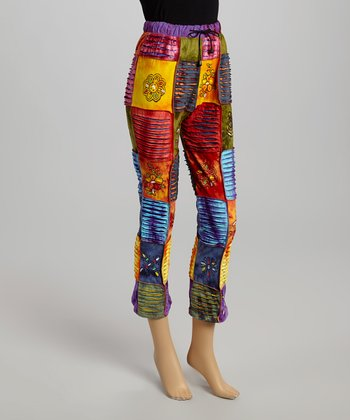 Red & Yellow Patchwork Lounge Pants