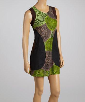 Green & Black Tree Ring Shift Dress
