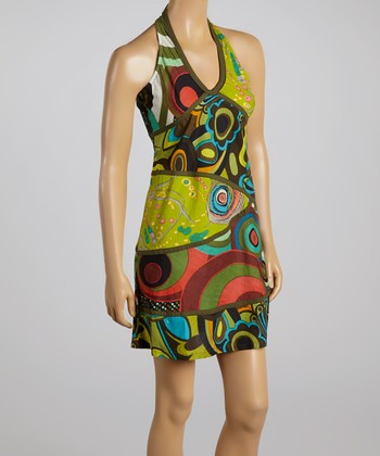 Green & Red Abstract Circle Halter Dress