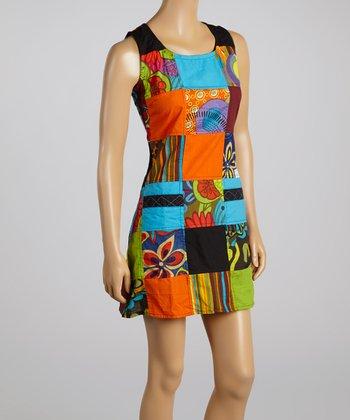 Orange & Blue Patchwork Sheath Dress