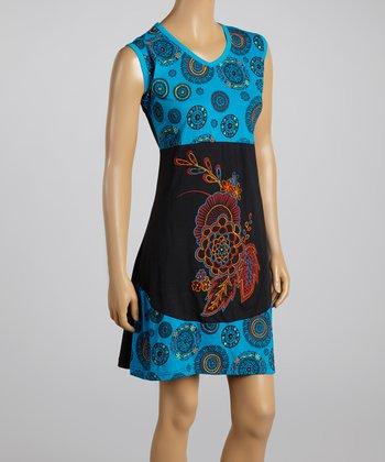 Blue & Black Floral Circle Sleeveless Dress