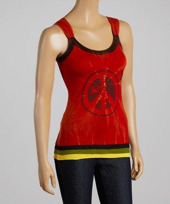 Red & Black 'Peace' Tank Top
