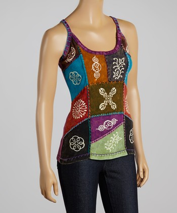 Purple & Red Patchwork Tank Top