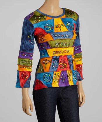 Blue & Yellow Abstract Face Long-Sleeve Top