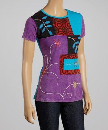 Purple & Blue Vine Short-Sleeve Top