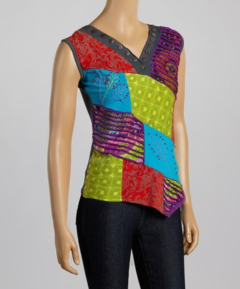 Blue & Red Patchwork Sleeveless Top