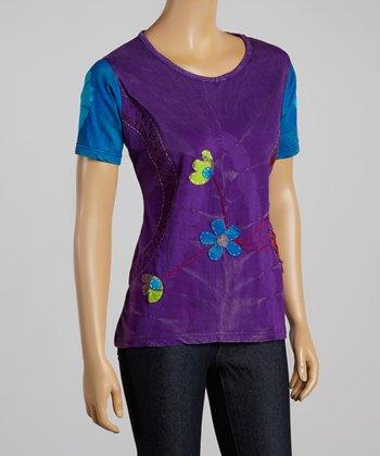 Purple & Blue Flower Crew Neck Top